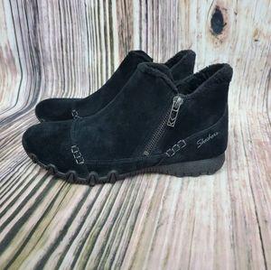 Skechers Black Earthy Chic Suede Biker Ankle Boots